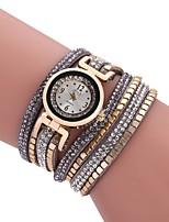 baratos -Mulheres Bracele Relógio Chinês Novo Design / Relógio Casual / imitação de diamante PU Banda Casual / Fashion Preta / Branco / Azul