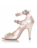 cheap -Women's Latin Shoes Satin Heel Slim High Heel Dance Shoes Nude