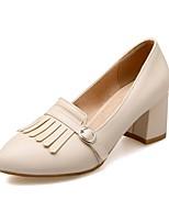 Недорогие -Жен. Балетки Полиуретан Лето Обувь на каблуках На толстом каблуке Белый / Бежевый / Розовый