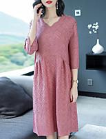 baratos -Mulheres Básico / Elegante Bainha Vestido Sólido Altura dos Joelhos