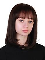 Недорогие -Человеческие волосы без парики Натуральные волосы Прямой Стрижка боб Природные волосы Коричневый Без шапочки-основы Парик Жен. Повседневные