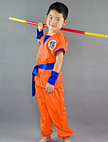 cheap -Inspired by Dragon Ball Son Goku Anime Cosplay Costumes Cosplay Suits Word / Phrase Short Sleeve Top / Pants / Belt For Boys'