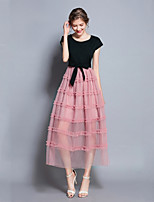 cheap -SHE IN SUN Women's Elegant Swing Dress - Color Block Lace up / Patchwork