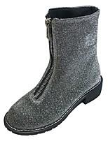 Недорогие -Жен. Полиуретан Осень Армейские ботинки Ботинки На толстом каблуке Круглый носок Черный / Серебряный / Зеленый