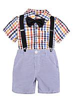Недорогие -Дети Мальчики Тигр Шахматка С короткими рукавами Набор одежды