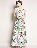 Недорогие -Жен. Богемный / Уличный стиль С летящей юбкой Платье - Цветочный принт, С принтом Макси
