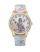 preiswerte -Damen Armbanduhr Quartz Armbanduhren für den Alltag Leder Band Analog Blume Modisch Schwarz / Blau / Rot - Blau Rosa Leicht Grün