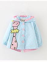 Недорогие -Дети (1-4 лет) Девочки Однотонный / Цветочный принт Длинный рукав Куртка / пальто
