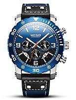 Недорогие -MEGIR Муж. Спортивные часы Японский Кварцевый 30 m Защита от влаги Календарь Секундомер Натуральная кожа Группа Аналоговый На каждый день Мода Черный - Черный Синий / Фосфоресцирующий
