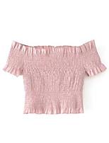 baratos -Mulheres Camiseta Sólido Sem Alças