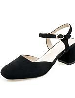 Недорогие -Жен. Балетки Замша Лето Обувь на каблуках На толстом каблуке Черный / Розовый / Миндальный