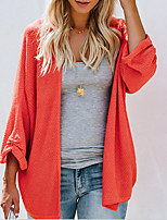 cheap -women's long sleeve loose cardigan - solid colored v neck