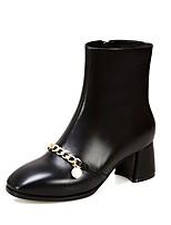 Недорогие -Жен. Обувь Наппа Leather Наступила зима Удобная обувь Ботинки На толстом каблуке Белый / Черный / Красный