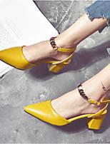 Недорогие -Жен. Обувь Полиуретан Весна & осень Удобная обувь / Туфли лодочки Обувь на каблуках На толстом каблуке Бежевый / Желтый