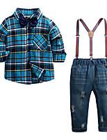 Недорогие -Дети Мальчики Шахматка Длинный рукав Набор одежды
