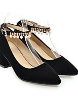 Недорогие -Жен. Комфортная обувь Полиуретан Весна Обувь на каблуках На толстом каблуке Черный / Красный