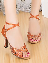 baratos -Mulheres Sapatos de Dança Latina Seda Salto Salto Alto Magro Sapatos de Dança Marron