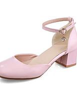 baratos -Mulheres Sapatos Confortáveis Couro Ecológico Verão Saltos Salto Robusto Branco / Vermelho / Rosa claro