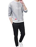 cheap -Men's Sports Long Sleeve Sweatshirt - Geometric / Color Block / Letter Round Neck