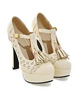baratos -Mulheres Sapatos Couro Ecológico Primavera Plataforma Básica Saltos Salto Agulha Preto / Bege / Amêndoa