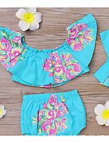 billiga -Bebis Flickor Grundläggande Blommig Kortärmad Kort Bomull Klädesset