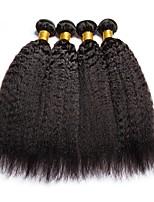 Недорогие -4 Связки Индийские волосы / Монгольские волосы Вытянутые Необработанные / Натуральные волосы Подарки / Косплей Костюмы / Человека ткет Волосы 8-28 дюймовый Естественный цвет Ткет человеческих волос
