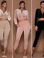 cheap -Women's Cropped Tracksuit - Black, Pink, Cream Sports Fashion Velvet High Rise Jacket / Tights Yoga, Fitness, Dance Long Sleeve Activewear Anatomic Design, Breathable, Comfortable Stretchy