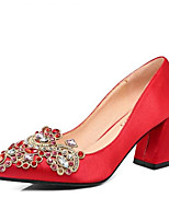 cheap -Women's Comfort Shoes Satin Spring Wedding Shoes Chunky Heel Black / Red
