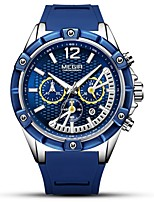 cheap -MEGIR Men's Sport Watch Japanese Quartz 30 m Water Resistant / Water Proof Calendar / date / day Chronograph Silicone Band Analog Casual Fashion Black / Blue - Black Blue Rose Gold / Noctilucent