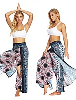 cheap -Women's High Split / Harem / Palazzo Wide Leg Yoga Pants - Black / White, Dark Navy, Rose Pink / Blue Sports Floral Print, Bohemian, Hippie High Rise Bottoms Fitness, Gym, Dance Activewear