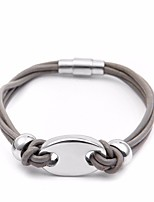 cheap -Men's Stylish / Braided Loom Bracelet - Titanium Steel, Fur Pig Punk, European, Trendy Bracelet Black / Gray / Brown For Street / Holiday