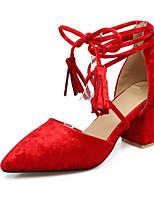 baratos -Mulheres Sapatos Confortáveis Tecido elástico Primavera Saltos Salto Robusto Vermelho / Rosa claro
