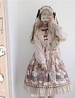 economico -Dolce Dolce Principessa Chiffon Per femmina Vestiti Cosplay Beige A sbuffo Manica lunga Midi Costumi Halloween