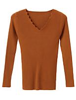 Недорогие -Жен. На выход Длинный рукав Тонкие Пуловер - Однотонный Глубокий V-образный вырез