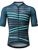 cheap -Mysenlan Men's Short Sleeve Cycling Jersey - Dark Green Bike Jersey Polyester / YKK Zipper