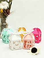 cheap -Cubic Pearl Paper Favor Holder with Ribbons Gift Boxes - 50pcs