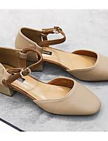 Недорогие -Жен. Мэри Джейн Полиуретан Весна лето Обувь на каблуках На толстом каблуке Белый / Миндальный