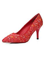 preiswerte -Damen Komfort Schuhe Satin Frühling Hochzeit Schuhe Stöckelabsatz Rot
