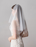 cheap -Two-tier Sweet Wedding Veil Elbow Veils 53 Faux Pearl 23.62 in (60cm) Cotton / nylon with a hint of stretch
