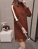 cheap -women's long sleeve long pullover - solid colored turtleneck