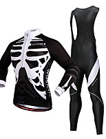 cheap -WOSAWE Men's Long Sleeve Cycling Jersey with Bib Tights - Black Bike Jersey, 3D Pad, Reflective Strips Polyester, Fleece Skeleton / Stretchy