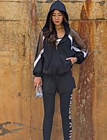 abordables -Femme Encolure dégagée Transparent Costume de yoga - Argent / noir Des sports Lettre Taille Haute Yoga, Fitness, Gymnastique Tenues de Sport Poids Léger, Respirable, Séchage rapide Elastique Slim