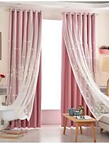 abordables -Rideaux occultants rideaux chambre d'enfants Couleur Pleine 100 % Polyester Broderie