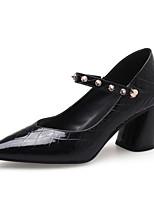 Недорогие -Жен. Комфортная обувь Наппа Leather Лето Обувь на каблуках На толстом каблуке Черный / Розовый