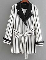 cheap -women's blazer-striped peter pan collar