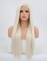 Недорогие -Синтетические кружевные передние парики Естественные кудри Kardashian Стиль Боковая часть Лента спереди Парик Блондинка Платиновый блондин Искусственные волосы 24 дюймовый Жен. / Серый / Жаропрочная