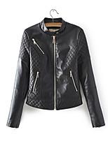 Недорогие -Жен. Кожаные куртки Воротник-стойка Однотонный