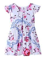Недорогие -Дети / Дети (1-4 лет) Девочки Цветочный принт / Жаккард С короткими рукавами Платье