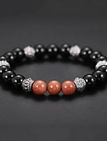 cheap -Men's Volcanic Stone Stylish Strand Bracelet / Bracelet - Resin Creative Natural, Casual / Sporty, Fashion Bracelet Black For Birthday / Daily