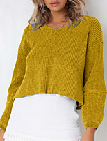cheap -women's long sleeve pullover - solid colored v neck